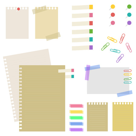 paper pin: Set of paper and pin, sticky