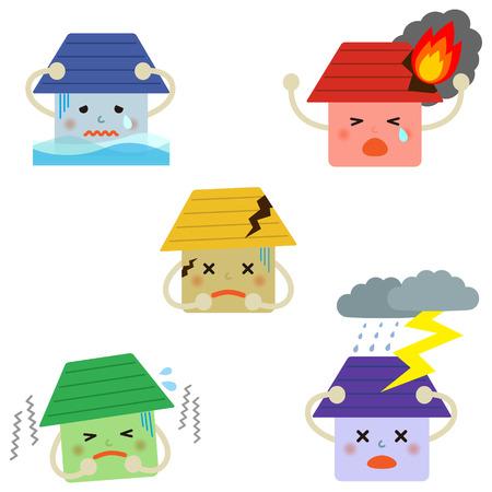 incendio casa: Conjunto de iconos del seguro de la casa