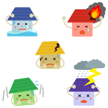 heavy risk: Set of house insurance icons