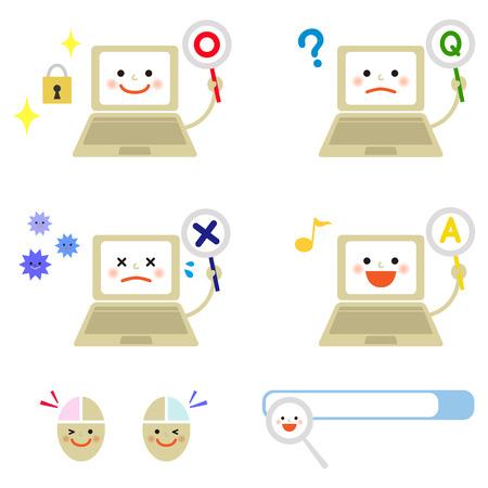 様々 な感情を持つノート パソコン