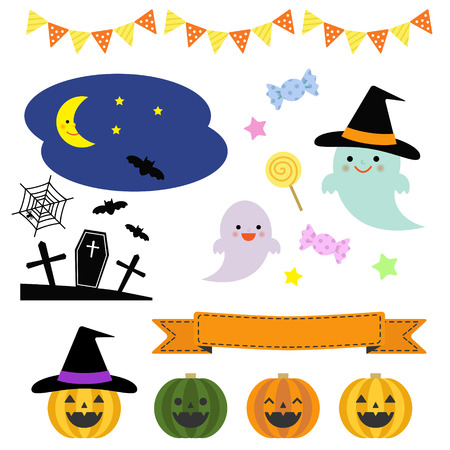 cute ghost: Collection of Halloween elements