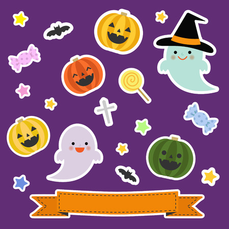 Collection of Halloween elements in sticker style Vector