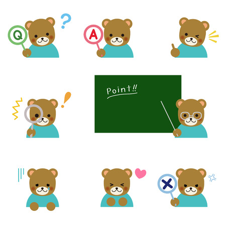 Bear with various emotions Vector