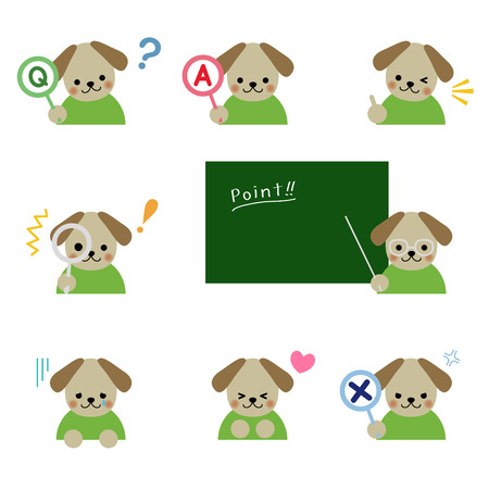Dog with various emotions Vector