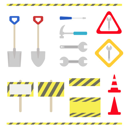 Set of maintenance and under construction objects Vector