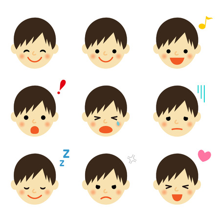 Facial expressions of boy  イラスト・ベクター素材