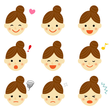 happy people faces: Facial expressions of woman Illustration