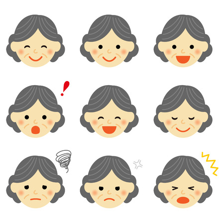 Facial expressions of senior woman Illustration