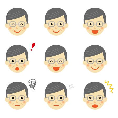 Facial expressions of senior man