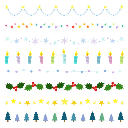Christmas decorative borders Ilustracja
