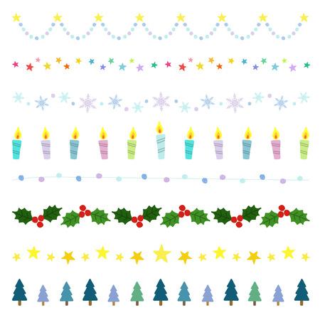Christmas decorative borders Vectores