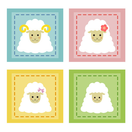 sheep family icons  Vector