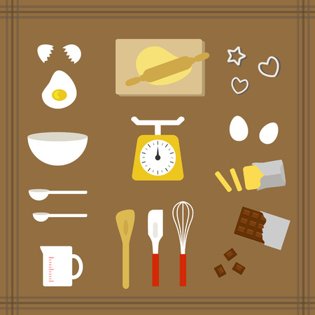 Collection of kitchen tools for sweets Ilustração