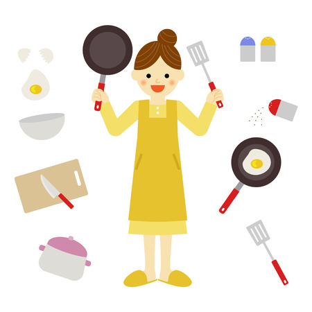 sunny side up eggs: woman and kitchen items