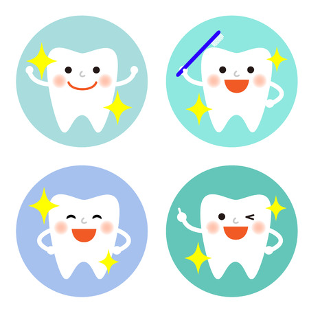 dentist icon: Set of tooth character