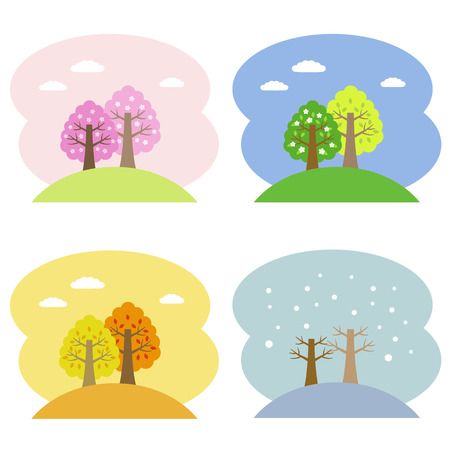 Four seasons trees Ilustracja