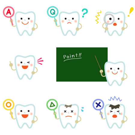 tooth with various emotions Ilustracja