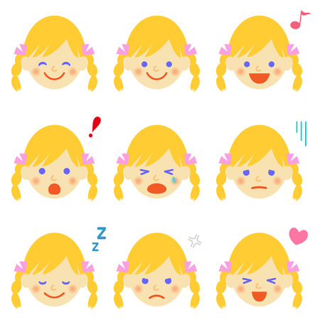 Facial expressions of blonde girl