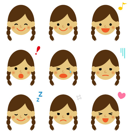 Facial expressions of asian girl Vector