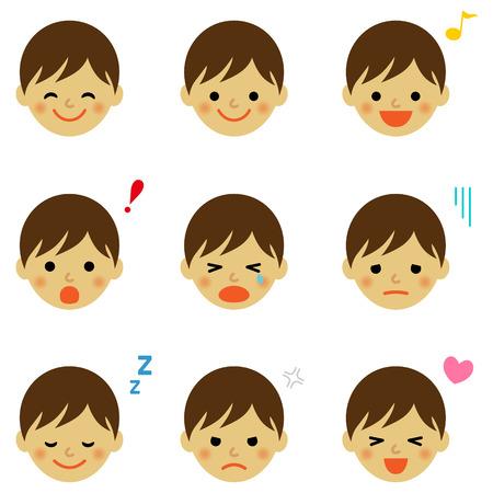 Les expressions du visage de garçon asiatique Banque d'images - 34177178