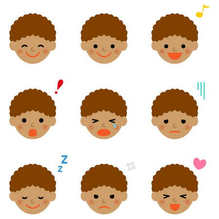 african boy: Facial expressions of african boy