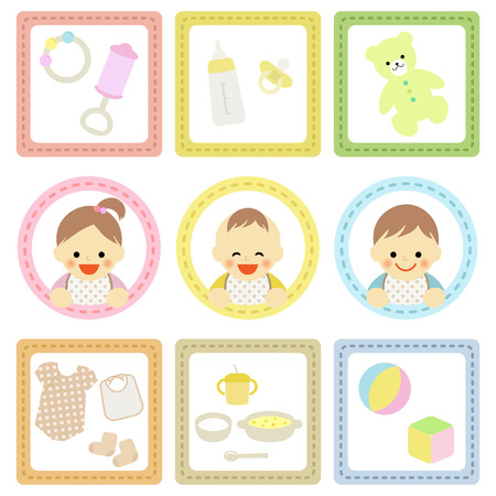 Baby shower items Vector