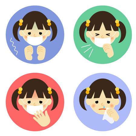 소녀의 감기 증상 일러스트