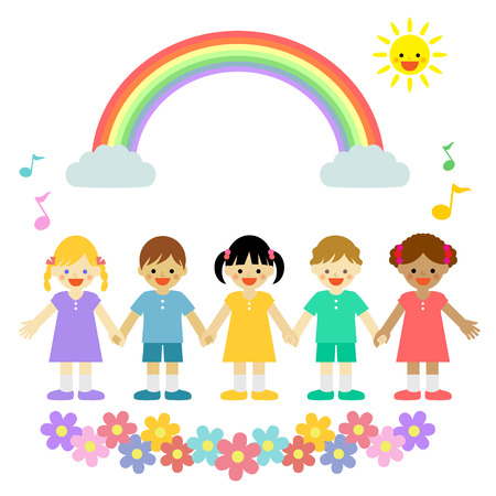 children holding hands: Multicultural children Illustration