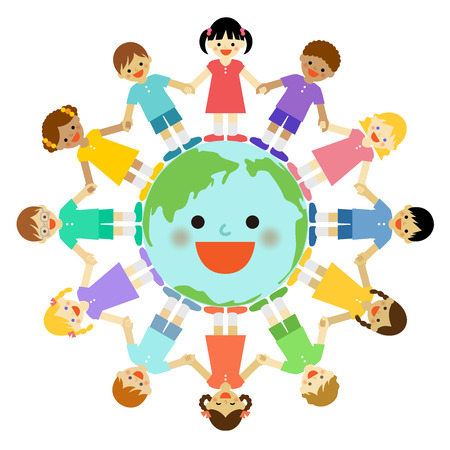 Multicultural children around the earth