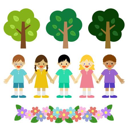 Multicultural children 矢量图像