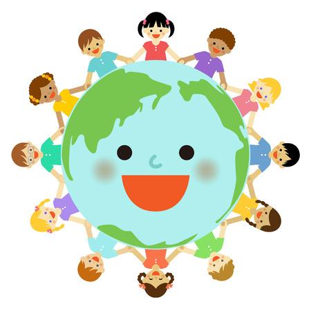 지구 주위 다문화 어린이