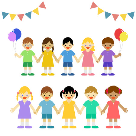 Multicultural children  イラスト・ベクター素材