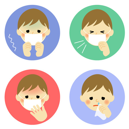 facial tissue: Cold symptoms of child Illustration