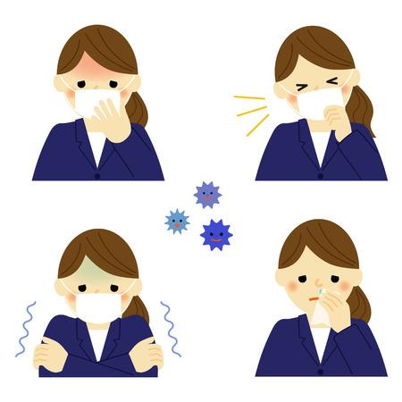 ビジネスの女性の風邪の症状  イラスト・ベクター素材