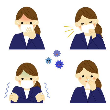 Cold symptoms of business woman