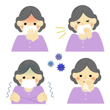 Cold symptoms of senior woman Vector