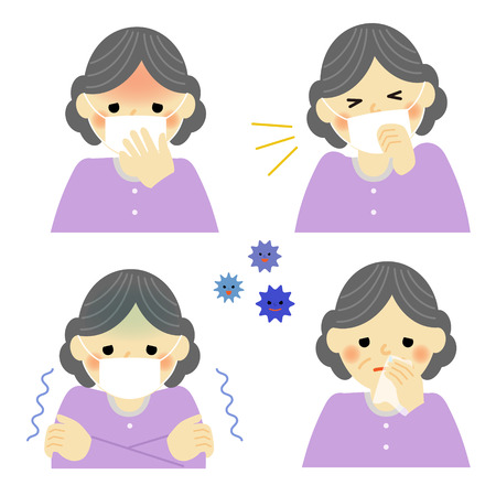 snivel: Cold symptoms of senior woman