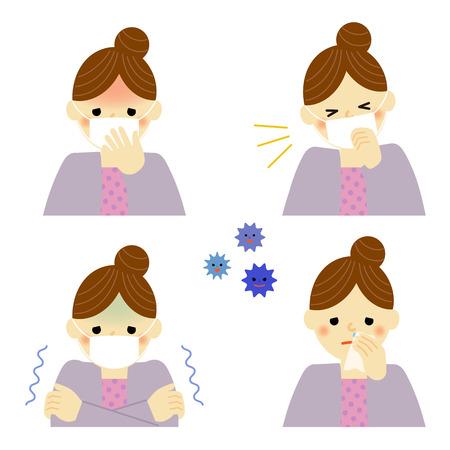 여자의 감기 증상 일러스트