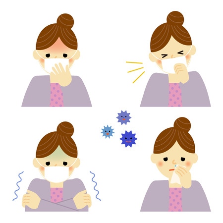 s�ntomas: Los s�ntomas del resfriado de mujer Vectores