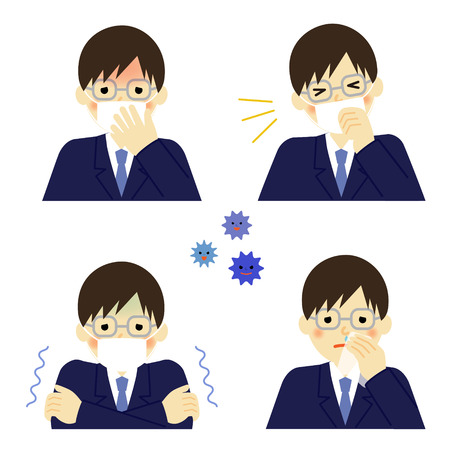 snivel: Cold symptoms of man Illustration