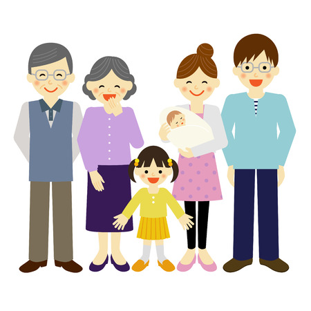 happy asian people: family Illustration