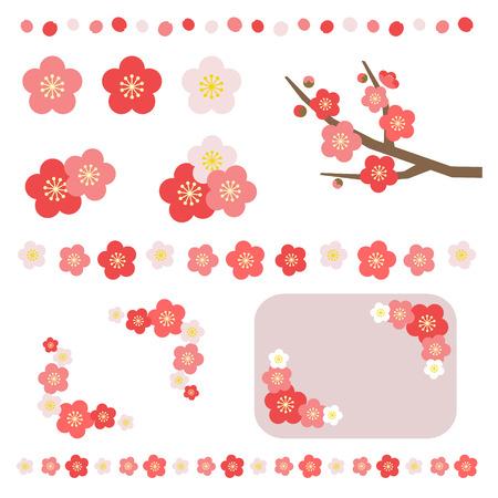 flores chinas: Conjunto de flor de albaricoque Vectores