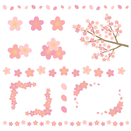 pale: Set of cherry blossom
