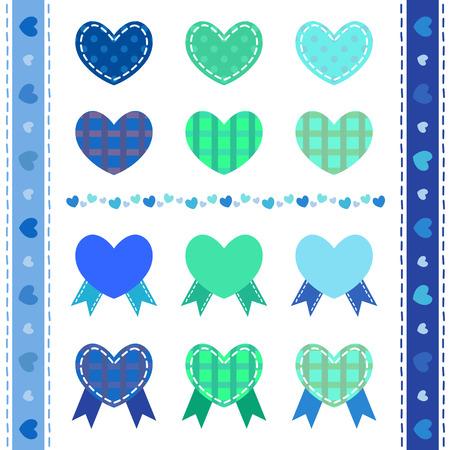 corazones azules: Conjunto de corazones azules decorativos