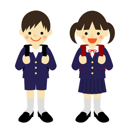 小学校の制服を着た少年や学校の女の子