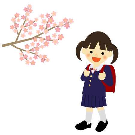 junior: School girl with blooming cherry blossoms Illustration