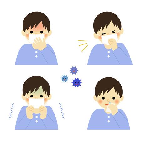 少年の風邪の症状  イラスト・ベクター素材