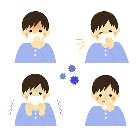 Cold symptoms of boy Vector