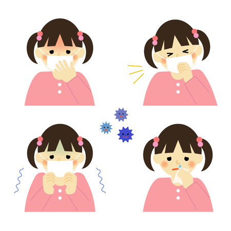Cold symptoms of girl Vector