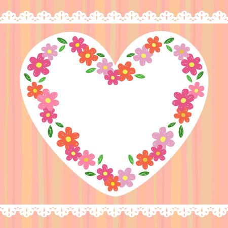 modern flowers: Heart flower frame Illustration